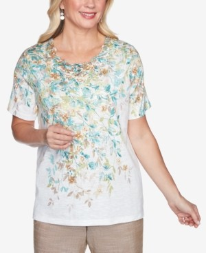 Alfred Dunner Short Sleeve Falling Leaves Lace Yoke Knit Top