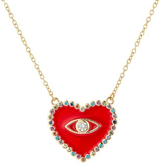 Eye Candy La 18K Goldplated Sterling Silver Cubic Zirconia Evil Eye Heart Pendant Necklace
