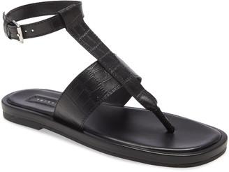 Topshop Peachy Croc Embossed Ankle Strap Sandal