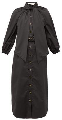 Zimmermann Espionage Pussybow Belted Cotton Shirt Dress - Womens - Black