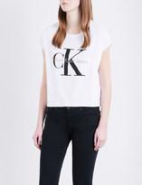 Calvin Klein Cropped cotton-jersey T-shirt