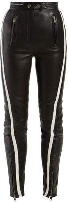 Alexander McQueen Side-stripe Leather Trousers - Womens - Black White