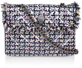 Kurt Geiger Womens London Blue Tweed Kensington Fabric Bag - Blue