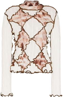 ASAI Tie-Dye Diamond Panel Turtleneck