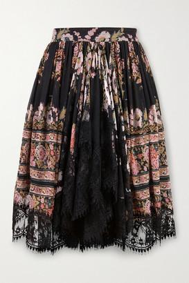 Etro Lace-trimmed Floral-print Silk-crepon Mini Skirt - Black