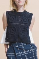 Sea Sleeveless Hand Knitted Top