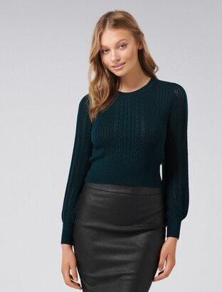 Forever New Imogen Rib Cinched Waist Jumper - Teal - l