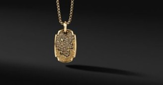 David Yurman Waves Pendant In 18K Yellow Gold With Pave Cognac