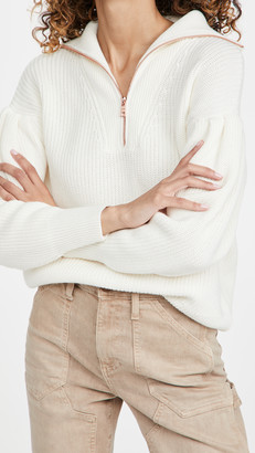 525 Cotton Pleat Sleeve Quarter Zip Sweater