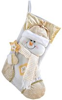 Camilla And Marc WeRChristmas Christmas Stocking with 3D Snowman Head Decoration, 48 cm - Cream/Gold