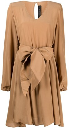 FEDERICA TOSI Asymmetrical Belted Silk Dress