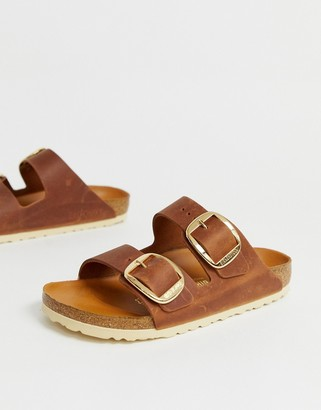 Birkenstock Arizona big buckle flat sandals in tan