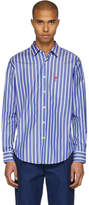 Ami Alexandre Mattiussi Blue and White Striped Ami de Coeur Shirt