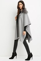 Forever 21 FOREVER 21+ Faux Fur-Collar Poncho