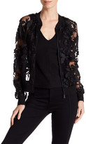 T Tahari Britney Sheer Floral Bomber Jacket