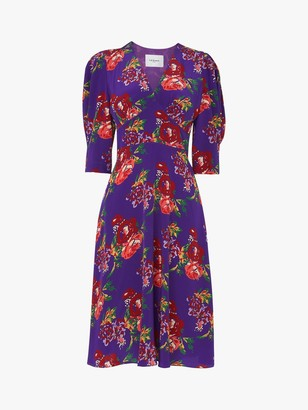LK Bennett Paradis Floral Print Silk Dress, Purple