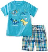 Kids Headquarters Blue Dinosaur Tee & Plaid Shorts - Infant Toddlers & Boys