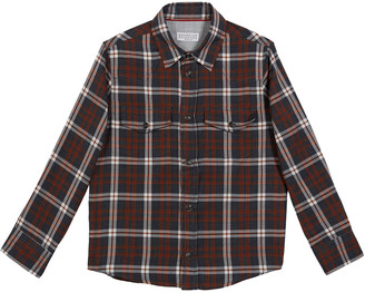 Brunello Cucinelli Boy's Cotton Plaid Western Shirt, Size 4-6