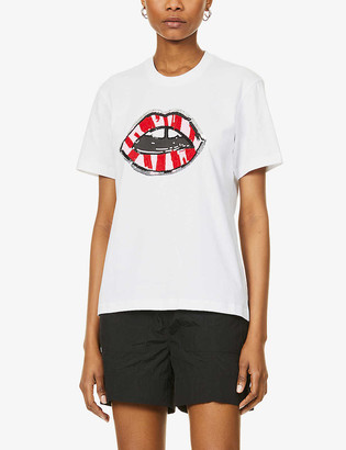 Markus Lupfer Alex crystal and sequin-embellished cotton-jersey T-shirt