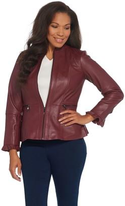 Isaac Mizrahi Live! Peplum Leather Jacket with Ruffle Sleeve