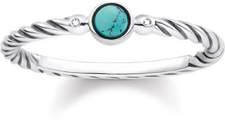 Thomas Sabo Women-Ring Glam & Soul 925 Sterling silver blackened white Diamond simulated Turquoise Sz. O D_TR0023-357-17-54