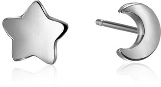 "Alex Woo Mini Additions"" Silver Moon and Star Stud Earrings"