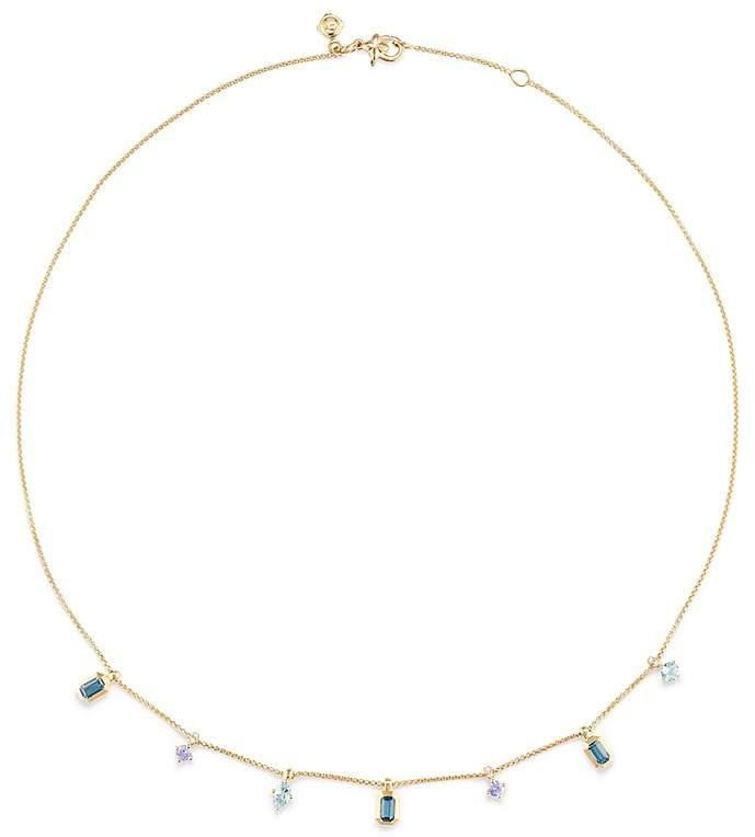 David Yurman Novella Necklace in Hampton Blue Topaz, Aquamarine & Tanzanite with Diamonds