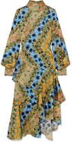 Peter Pilotto Asymmetric Printed Silk-jacquard Midi Dress - Yellow