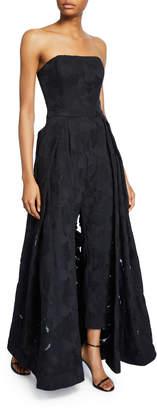 Halston Strapless Jacquard Jumpsuit with Skirt Overlay