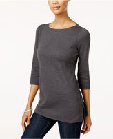Karen Scott Cotton Boat-Neck Tunic Top, Created for Macy's
