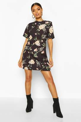 boohoo Floral Print Short Sleeve Shift Dress