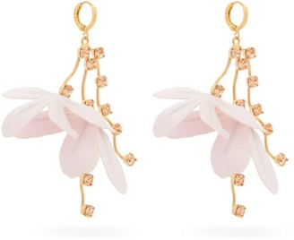 Marni Flower-drop Crystal-embellished Earrings - Light Pink