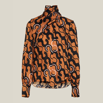 LAYEUR Brown Fine Printed Scarf-Neck Blouse FR 50