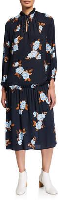 Rachel Pally Plus Size Gail Floral Blouson-Sleeve Drop-Waist Crepe Midi Dress