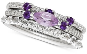 Macy's 3-Pc. Set Multi-Gemstone Stackable Ring Set (1-1/4 ct. t.w.) in Sterling Silver