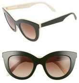 Victoria Beckham Women's 49Mm Cat Eye Sunglasses - Amber Tortoise/ White/ Black