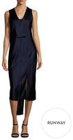 Narciso Rodriguez Silk Placket Midi Dress