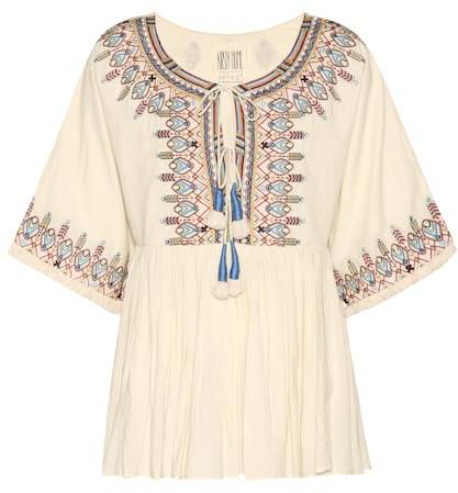 Velvet Dahlia embroidered cotton top