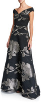Rickie Freeman For Teri Jon Floral Metallic Jacquard Off-the-Shoulder A-Line Gown