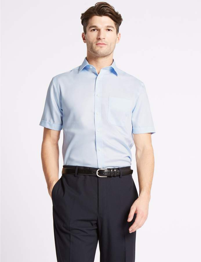 Marks and Spencer Short Sleeve Non-Iron Twill Tailored Fit Shirt