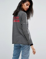 Daisy Street Oversized Lightweight Sweatshirt In Stripe With Nuclear Heart Print