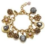 Badgley Mischka 8MM Lavender Freshwater Pearl Floral Charm Bracelet