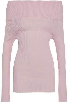 Giambattista Valli Off-The-Shoulder Ribbed Cotton-Blend Sweater
