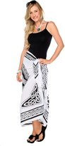 1WorldSarong 1 World Sarongs Womens Celtic Sarong Maiden And The Dragon in Black / White