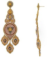 Miguel Ases Beaded Blush Chandelier Drop Earrings