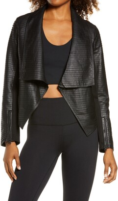 Blanc Noir Textured Leather & Ponte Moto Jacket