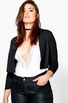 boohoo Plus Molly Crop Woven Kimono Jacket black