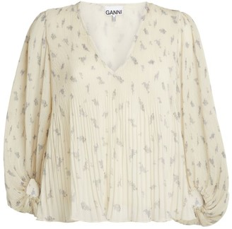 Ganni Pleated Georgette Top