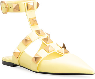 Valentino Roman Stud Ankle-Cuff Ballerina Flats