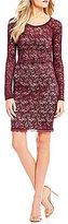 Sequin Hearts Sequin-Lace Criss-Cross Back Sheath Dress